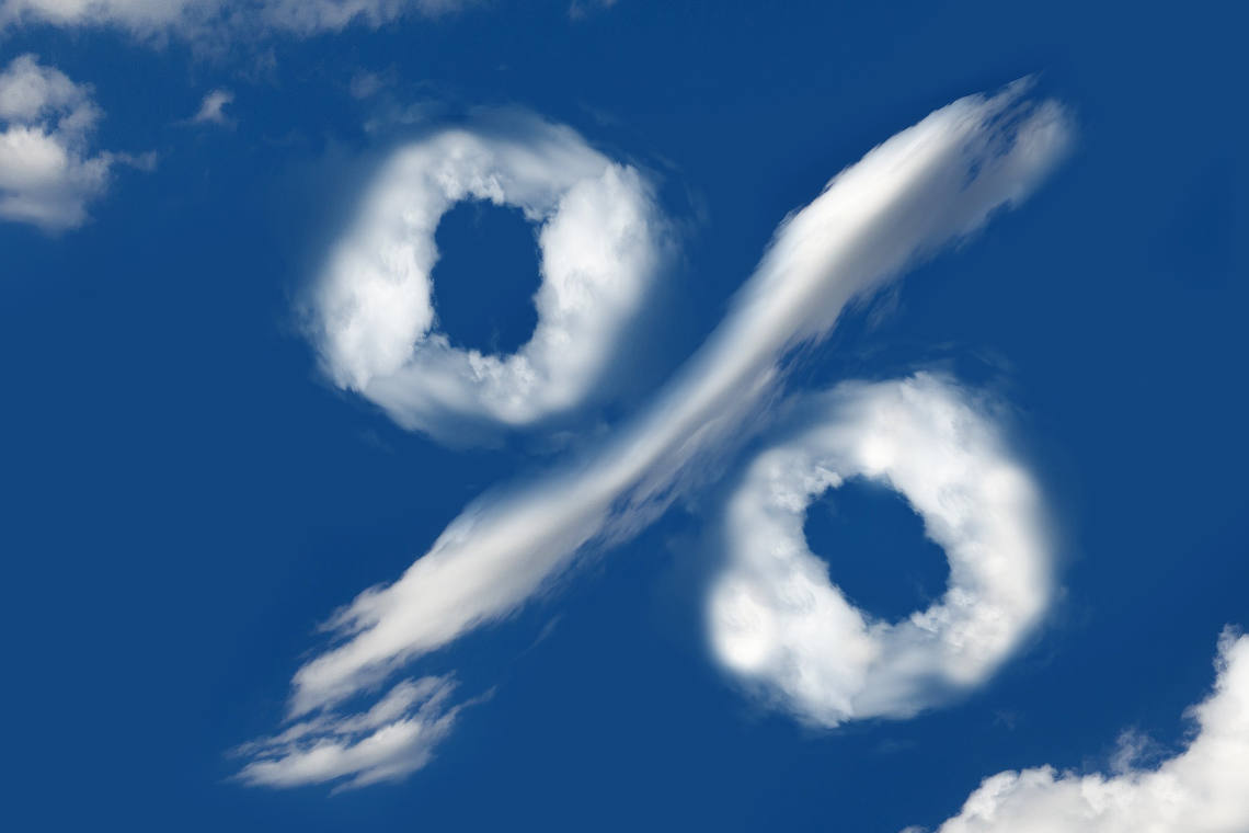 Image of percentage sign in the clouds
